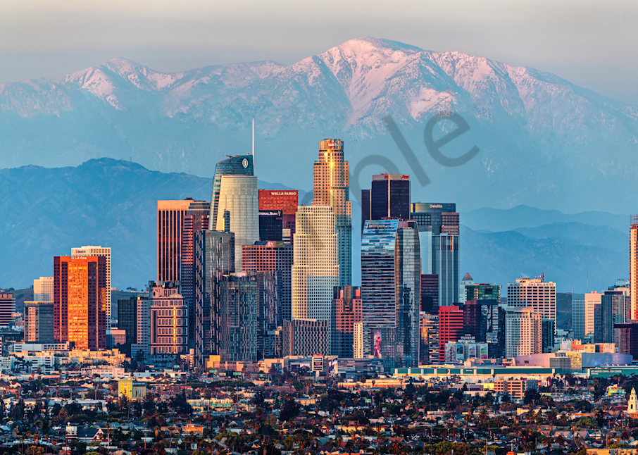 Print Art Los Angeles California Snow Packed Mountains