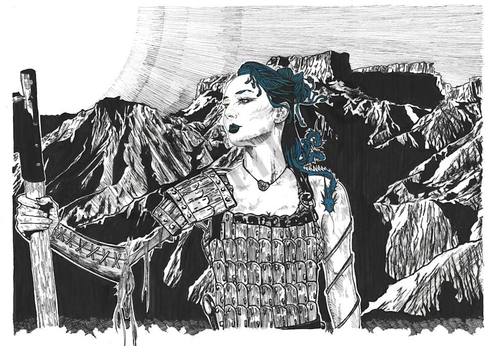 Hand-illustrated portrait of Medusa.