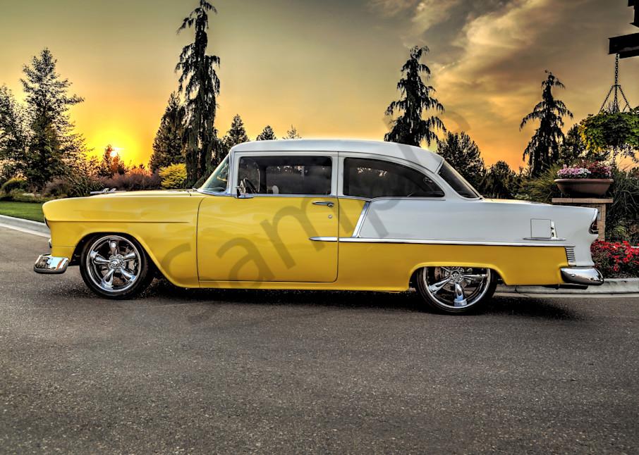 55 Chevy Sunset Photography Art   Christensen Photography