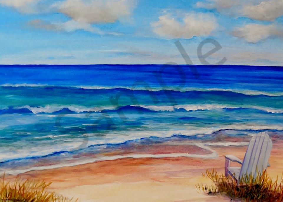 """Seaside Beach Chair"" by Indiana Artist Gina Harding   Prophetics Gallery"