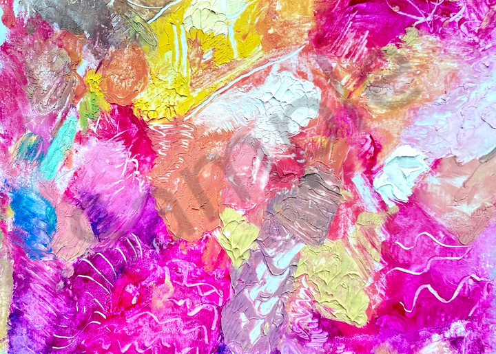 Abstract Art with Magenta, Peach, Turquoise, and Yellow