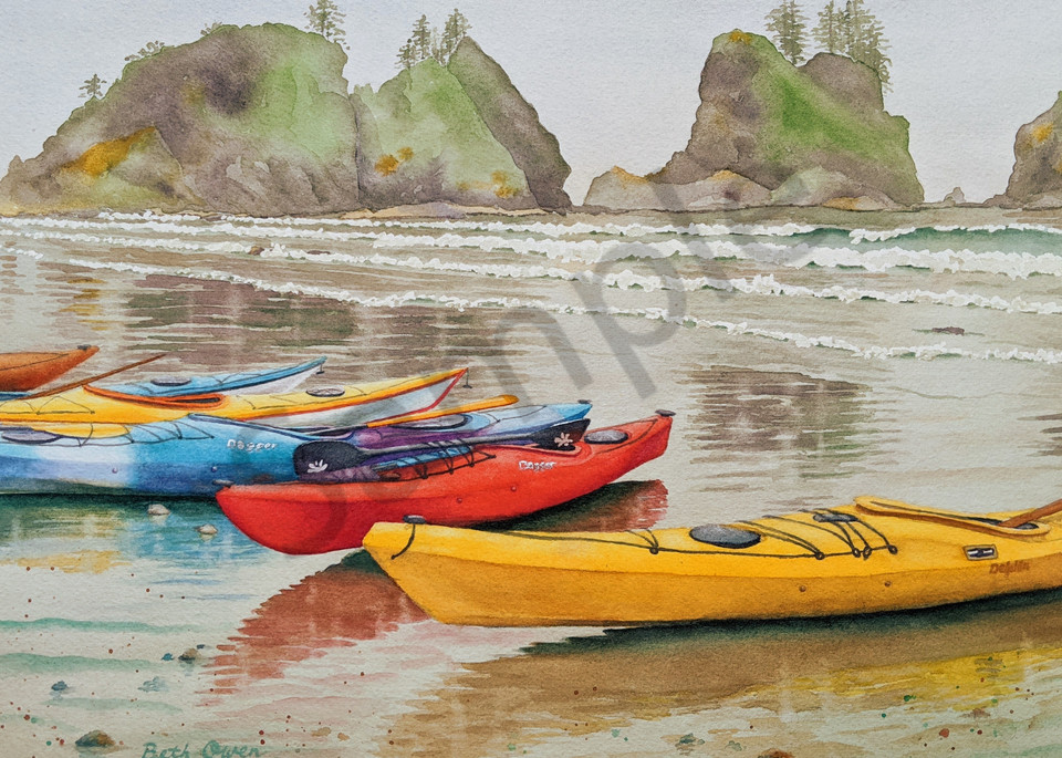 """""""Made It to Shi Shi"""" watercolor prints available in paper, metal, acrylic, canvas and wood by Beth Owen"""