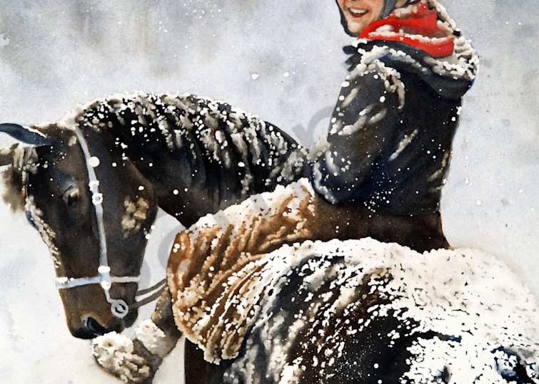 Winter Ride watercolors prints available in paper, metal, acrylic, canvas or wood by Beth Owen