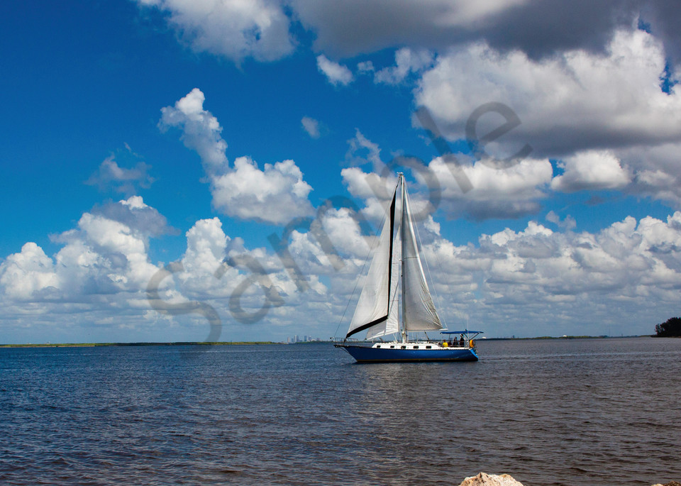 Blue Sailboat Photography Art   It's Your World - Enjoy!