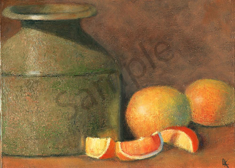 A Stone Crock and Grapefruit