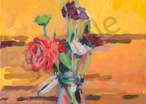 """""""Milk Bottle Bouquet on Yellow"""" fine art print by Karl Kralapp."""