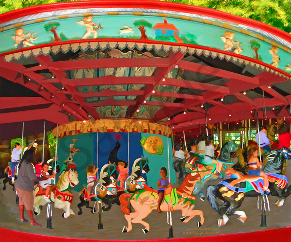 A Girl At The Central Park Carousel - The Gallery Wrap Store
