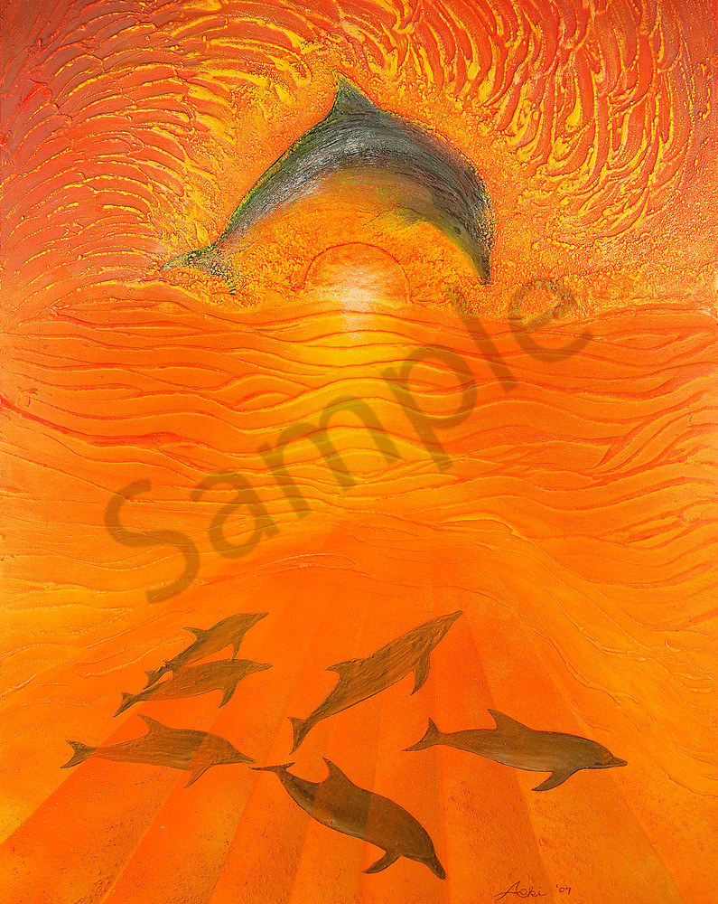 Fine Art Painting Dolphins Ii By Alan Aoki