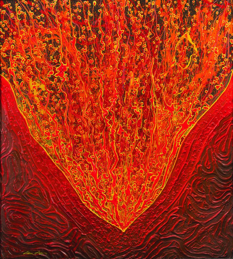 Fine Art Painting Volcano By Alan Aoki
