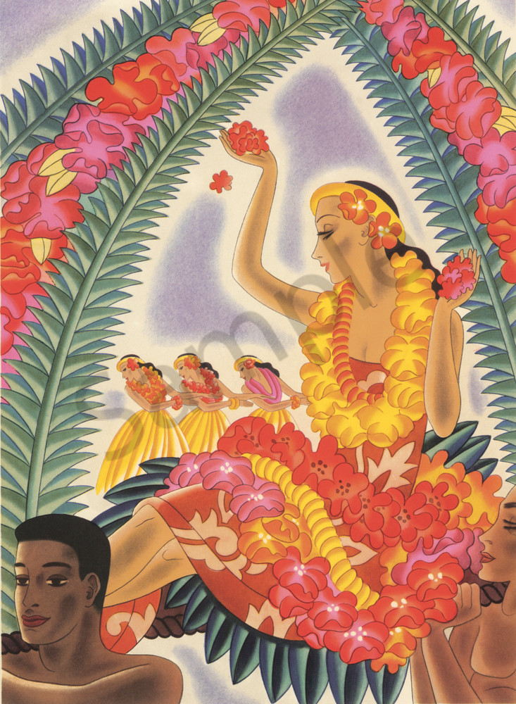 Retro Hawaiian Art Hula And Lei By Frank Macintosh