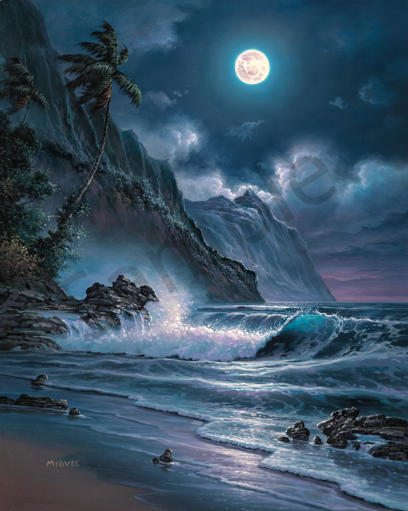 Seascape Painting Moonlight Overture By Migvel