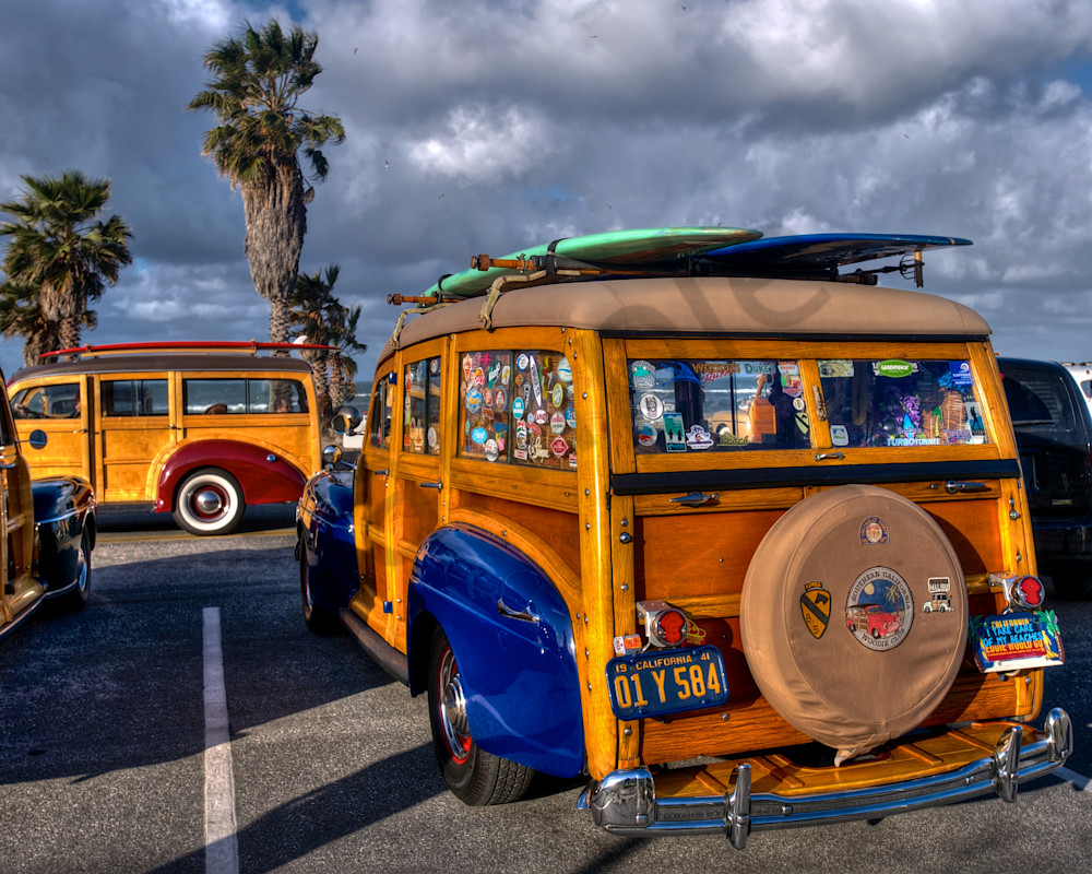 1942 blue woody at doheny beach car show.