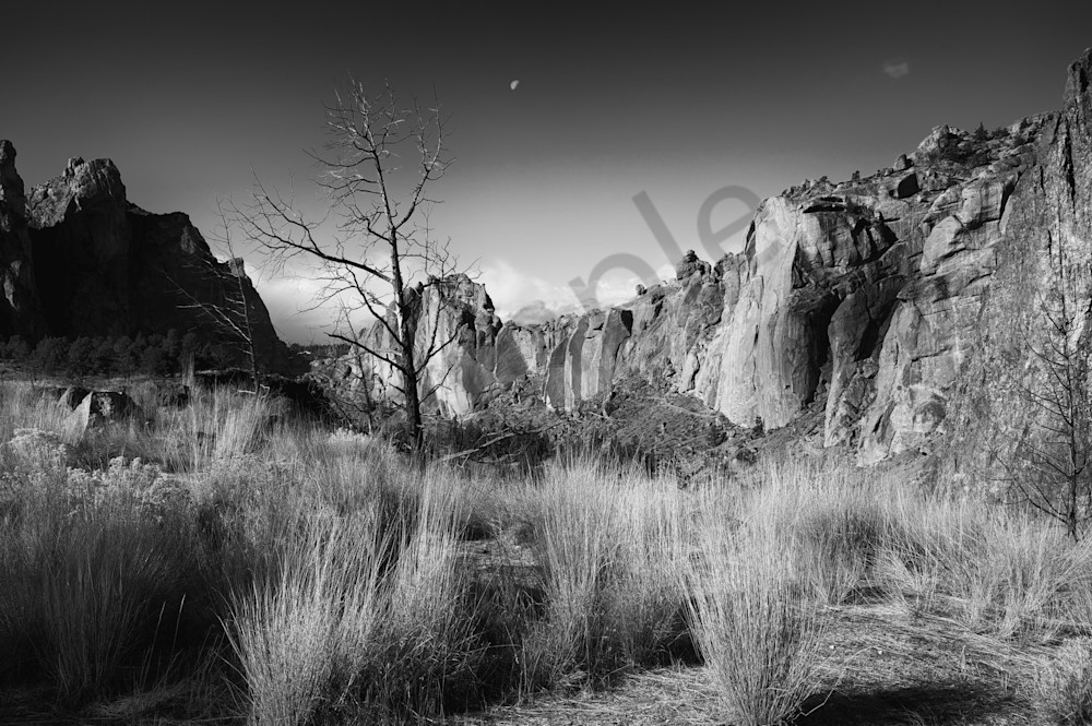 black and white photo of smith rock in Oregon in fall