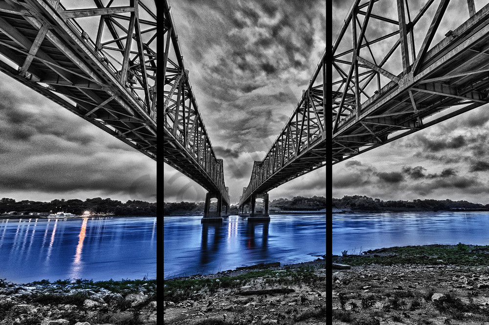 Bridge To Natchez   Trip Tych Photography Art | Robert Jones Photography