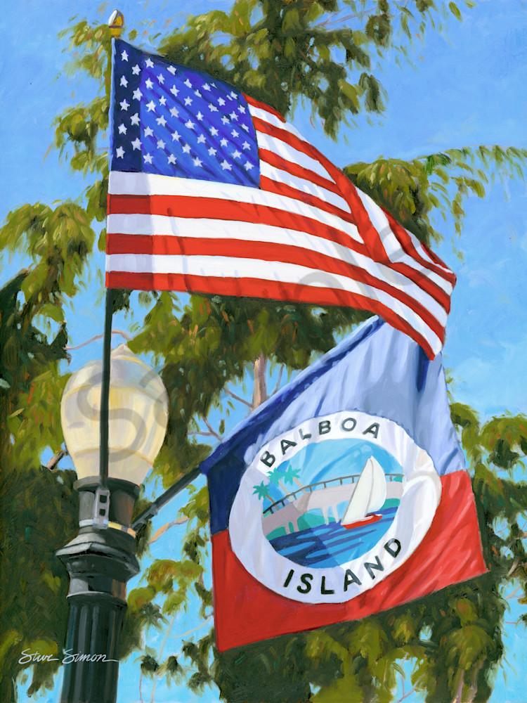 American and Balboa Island Flag