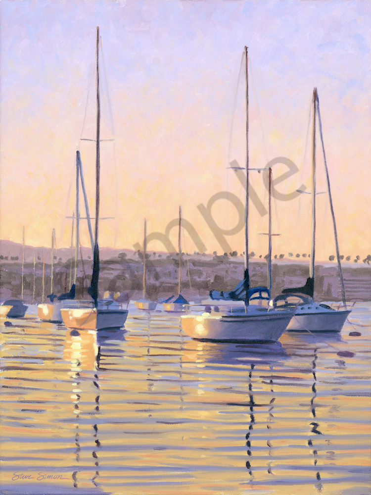 Newport Harbor Sunrise painting