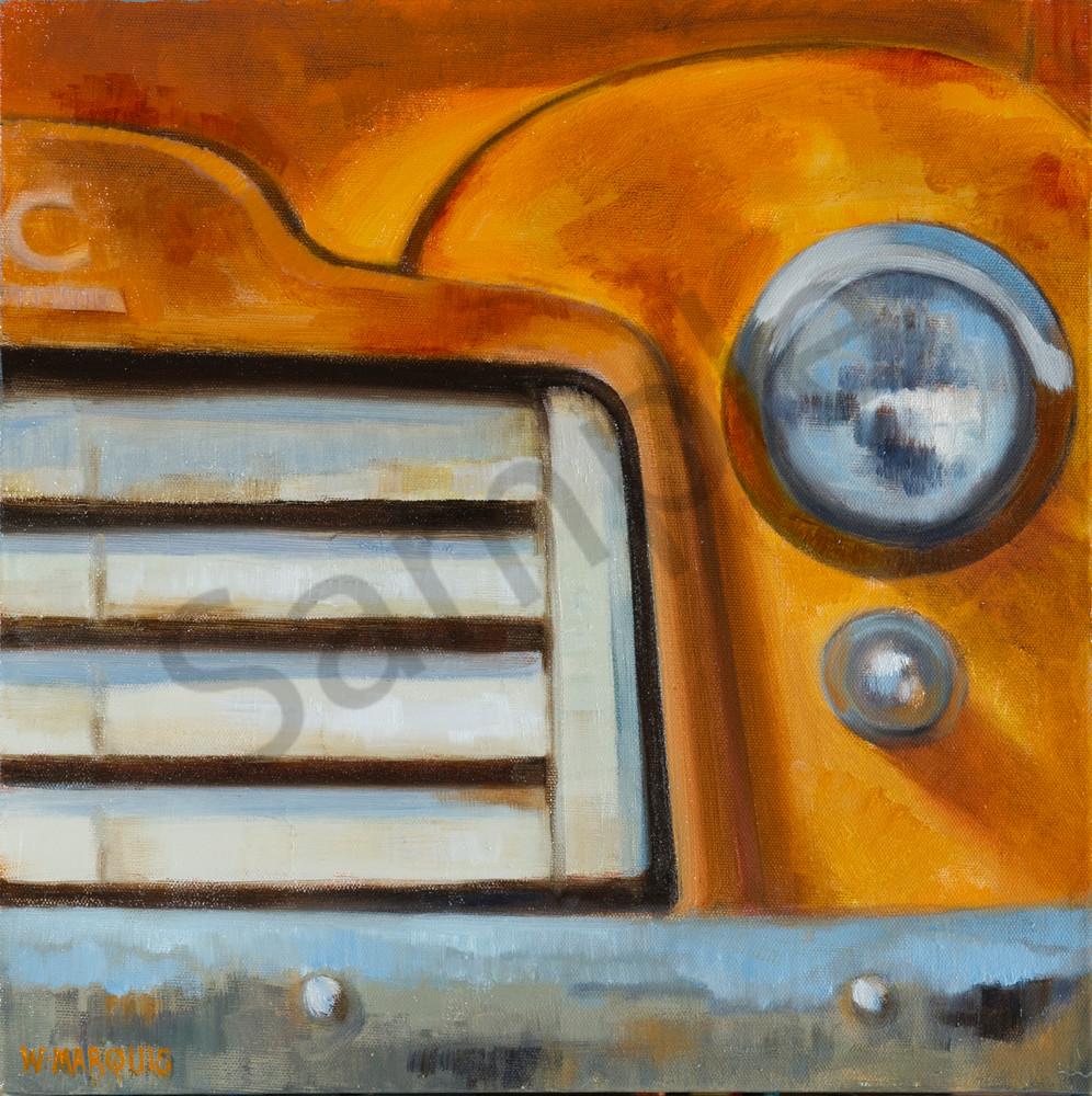 Rust and Wonder, orange GMC, grill, headlight