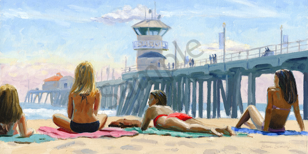Girls Sunbathing Near Huntington Pier