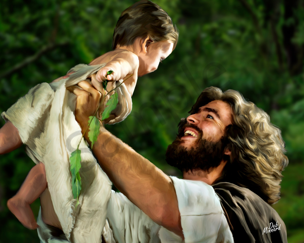 Joyous Jesus lifting a laughing baby