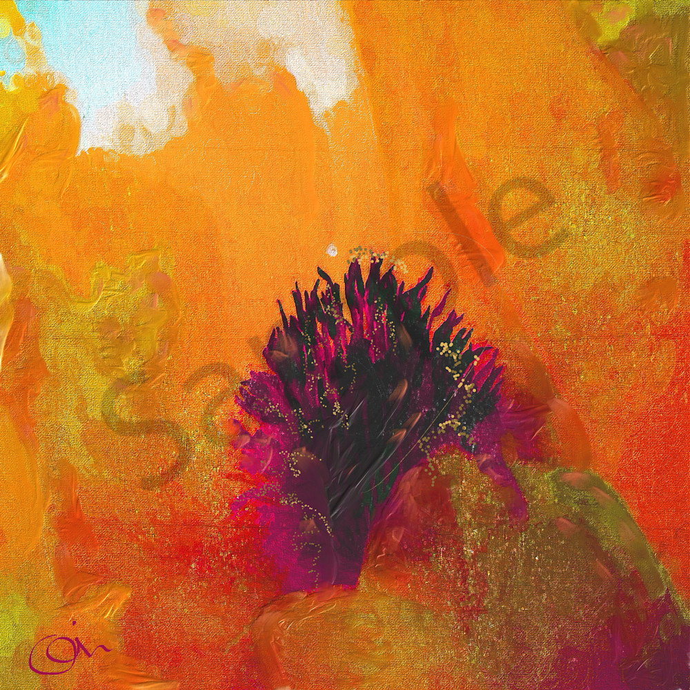 Center Abstract Red Orange Flower Painting