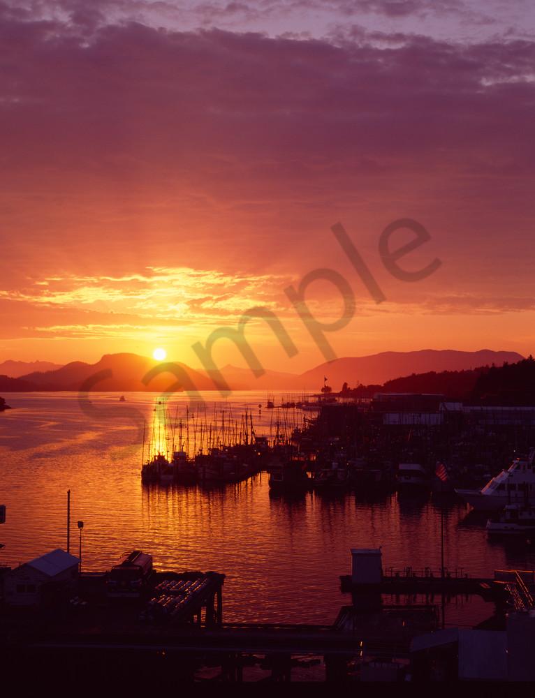 Sitka waterfront at sunset, Sitka, Alaska