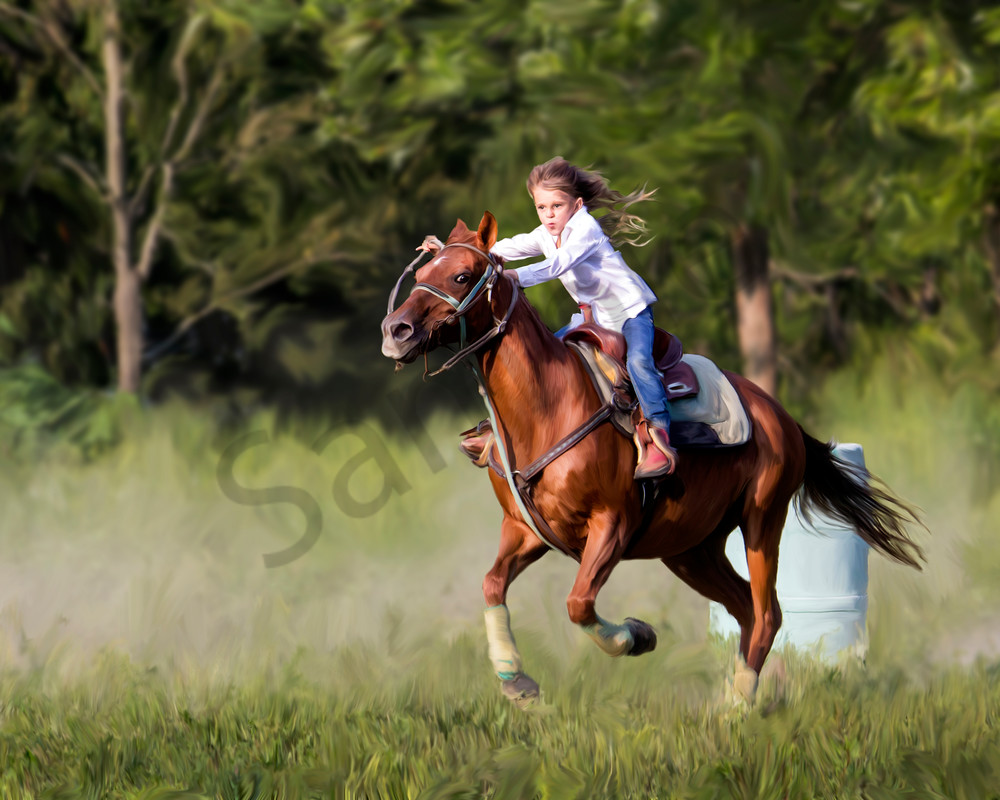 a girl barrel racing her horse, sugar. a digital art painting.