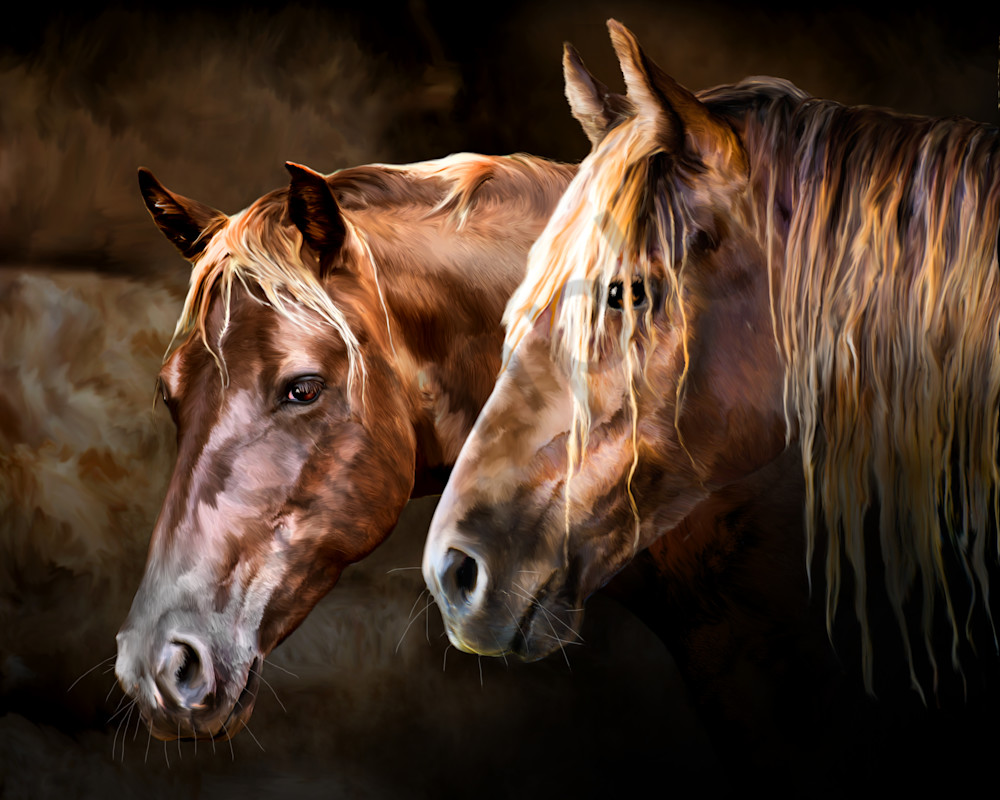 a digital painting of horse art