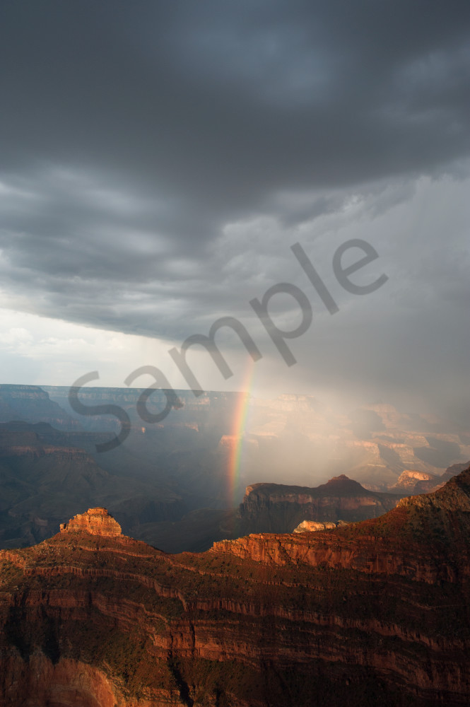 Monsoon storm and rainbow