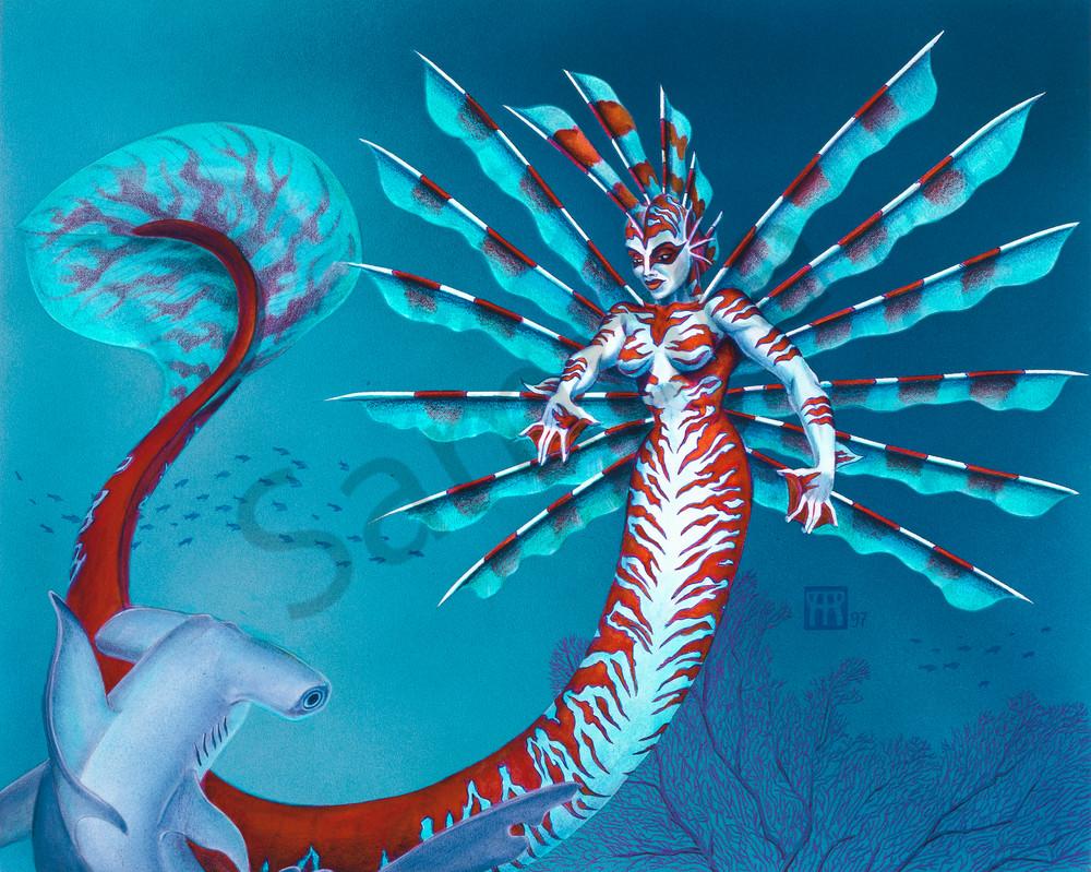 Mermaid With Hammerhead Shark Art | Melissa A Benson Illustration