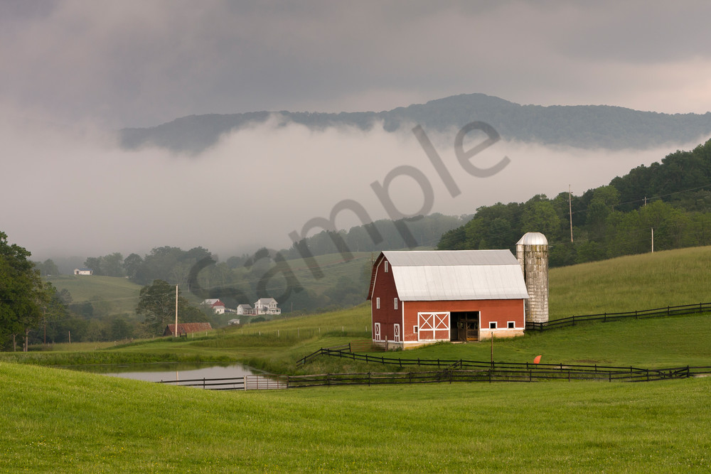 Barn Wall Art: Red Barn in Fog