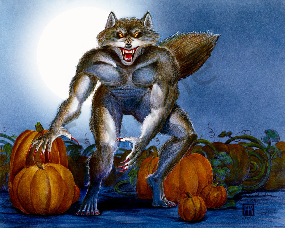 Werewolf In Pumpkin Patch Art | Melissa A Benson Illustration