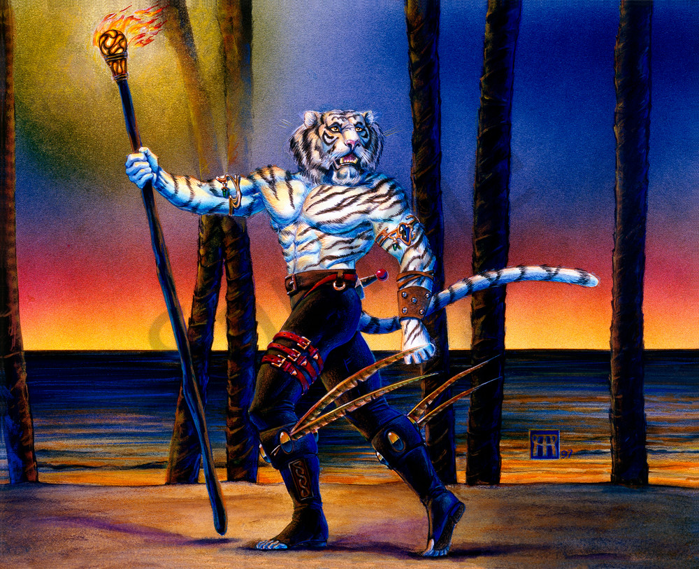 Werecat With Torch At Sunset Art | Melissa A Benson Illustration