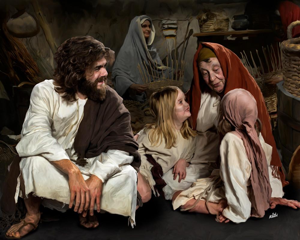 digital art painting of Joyous Jesus listening to Story Telling