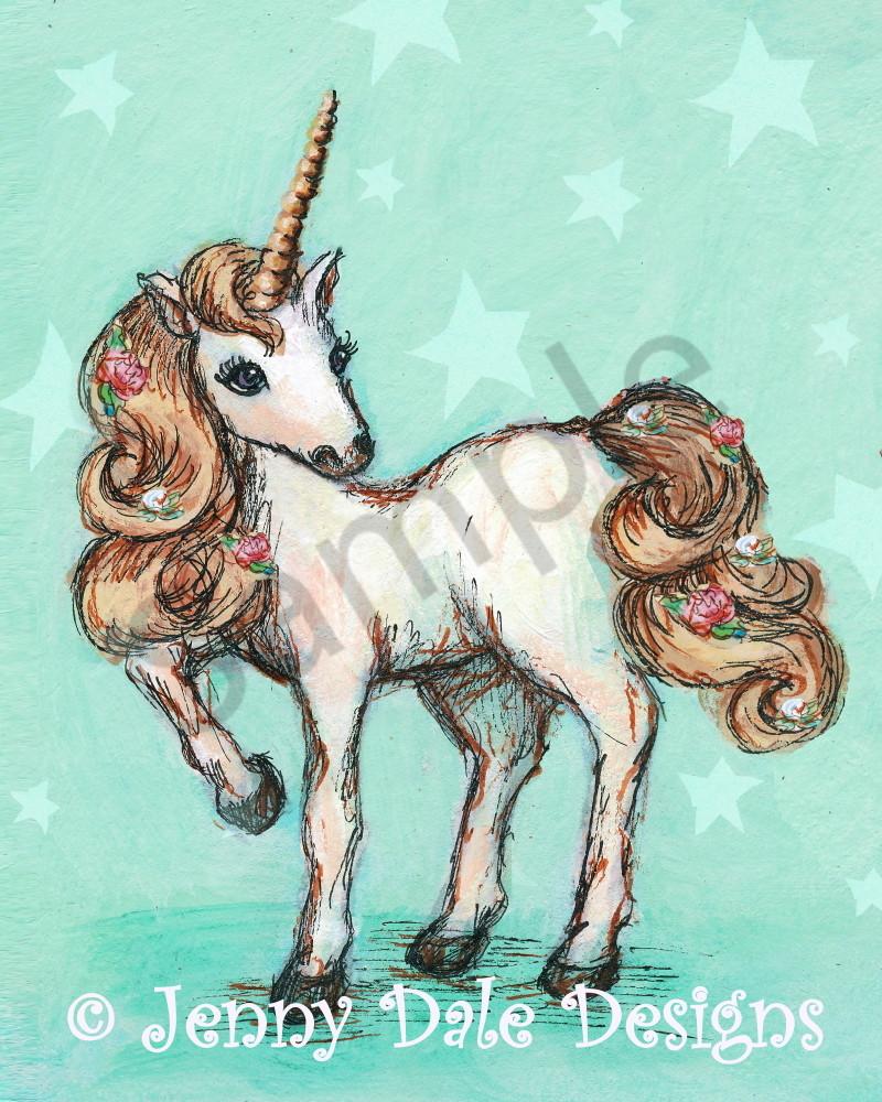 Pretty Unicorn: Mint Background with Stars