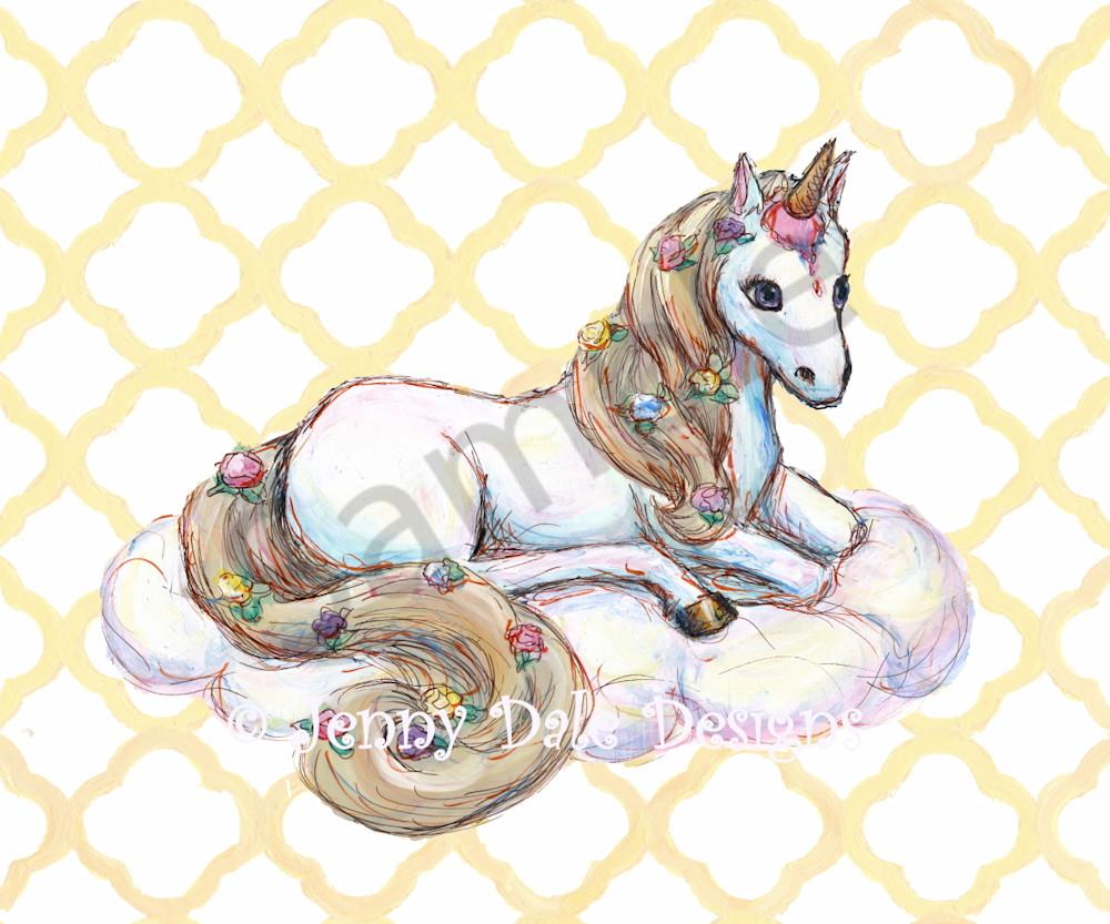 Ice Cream Unicorn: Sitting, yellow background