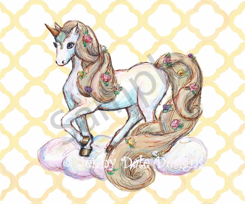 Ice Cream Unicorn: Standing, Yellow Background Art | Jenny Dale Designs