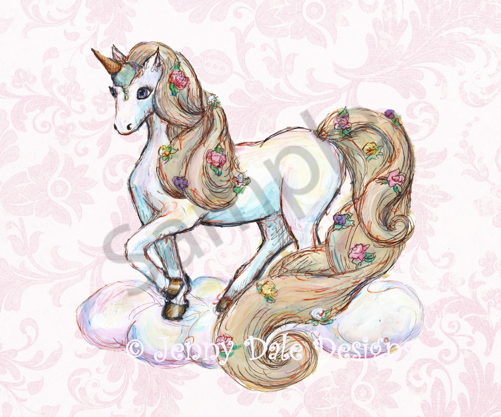 Ice Cream Unicorn: Standing, Pink Floral Background Art | Jenny Dale Designs