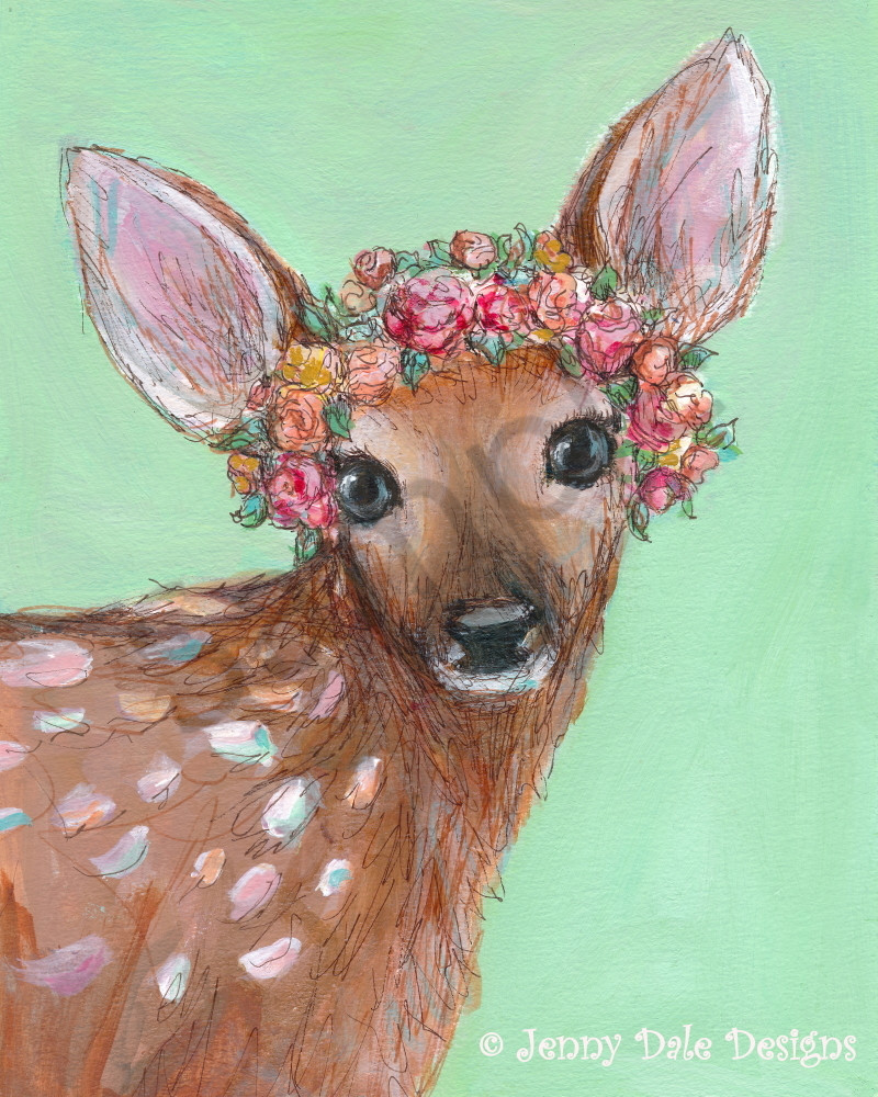 Fawn with Flower Crown (mint background)