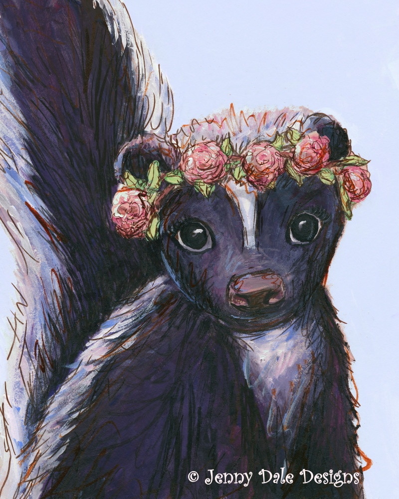 Skunk Wearing Rose Flower Crown Light Blue Background Art Print