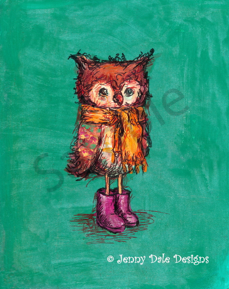 Owl In Pink Boots Art   Jenny Dale Designs