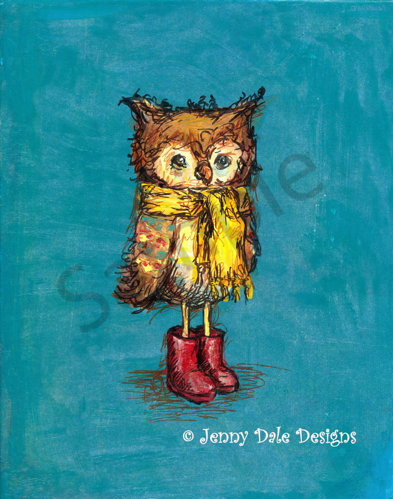 Owl In Red Boots Art | Jenny Dale Designs