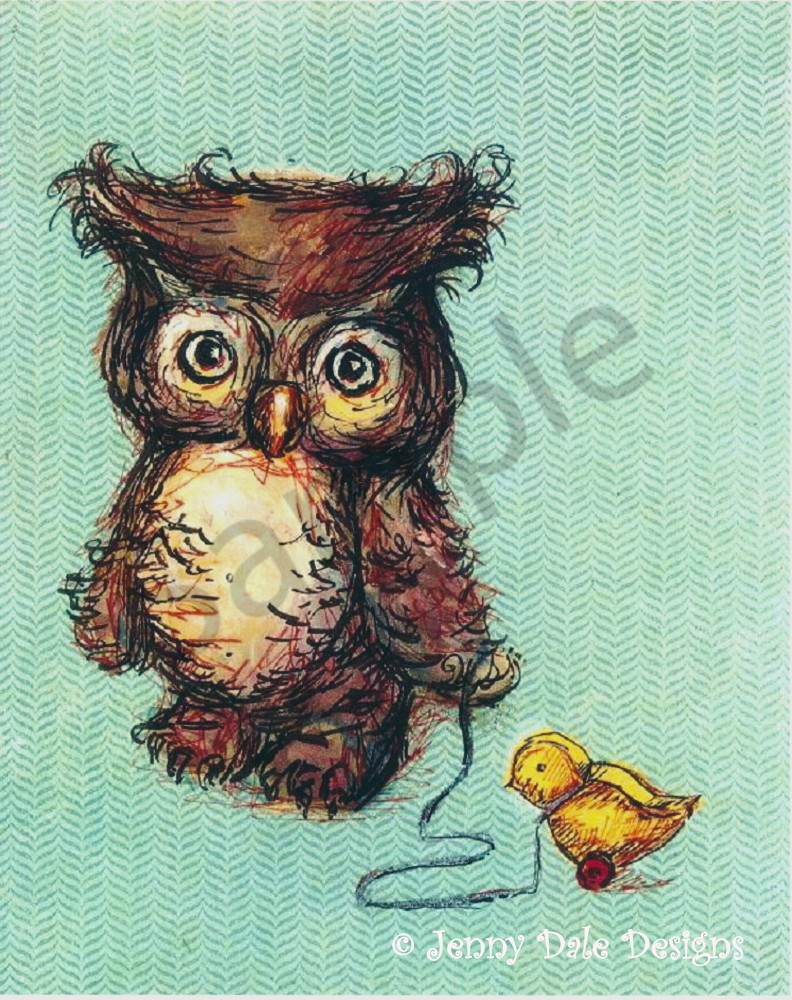 Owl And Ducky Pull Toy  Art | Jenny Dale Designs