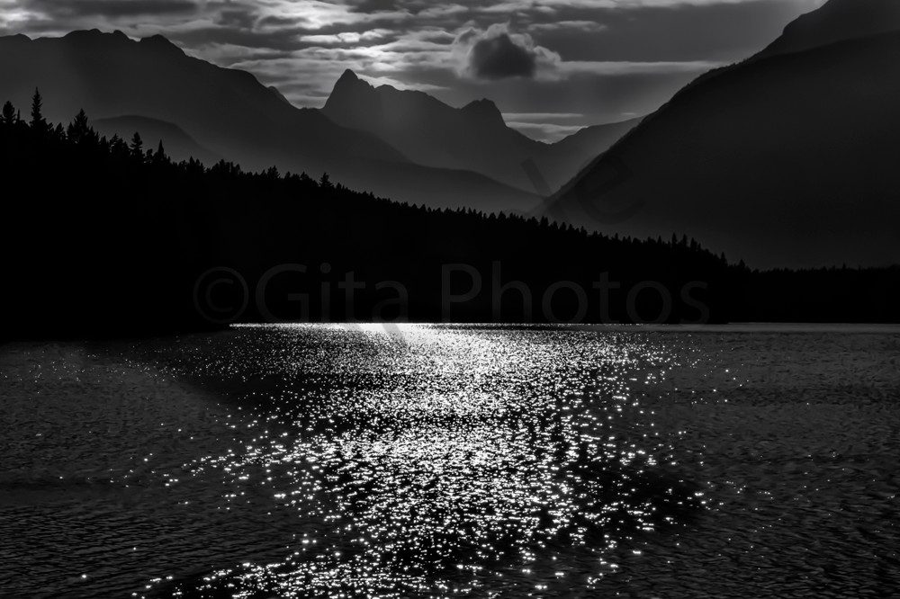 Johnson Lake in summer Moonlight. Banff National Park| Canadian Rockies | Rocky Mountains|