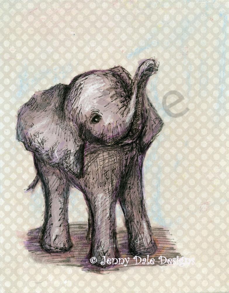 Sweet Baby Elephant: Raised Trunk, Grey Neutral Background Art | Jenny Dale Designs