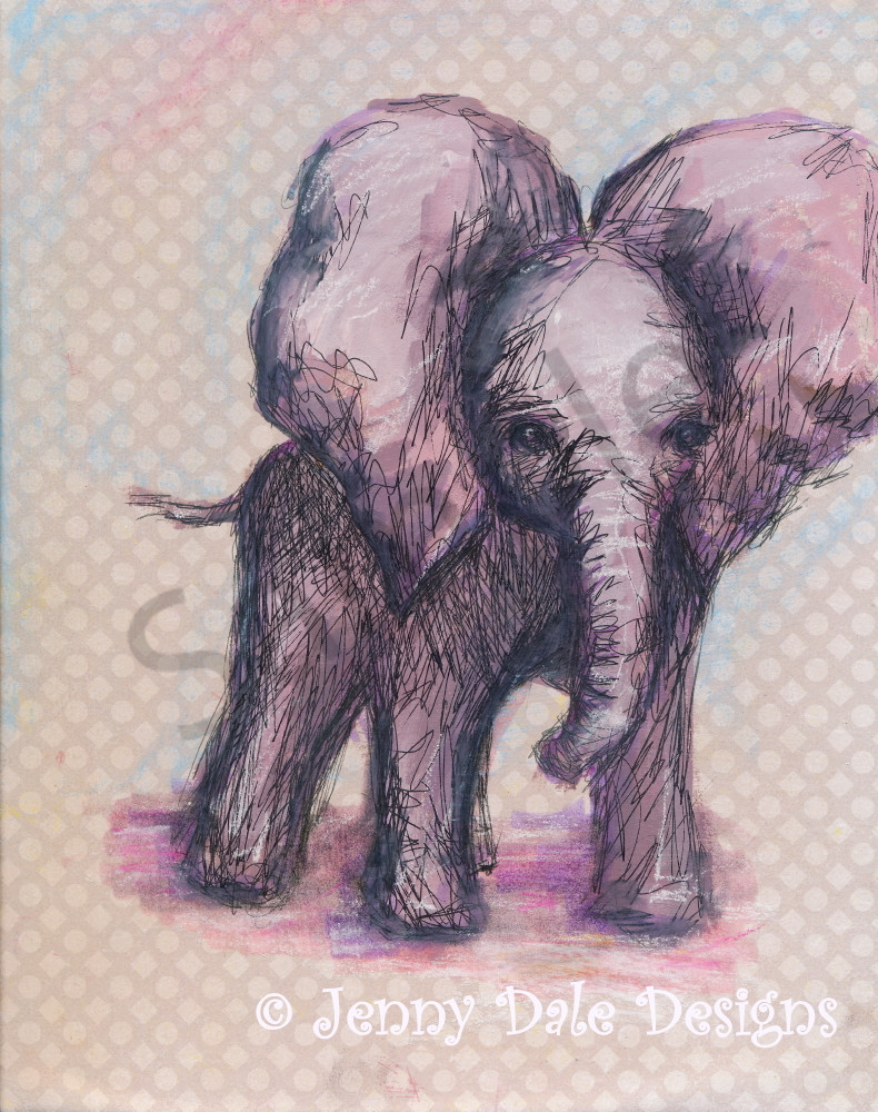 Sweet Baby Elephant: Flapping Ears, Pink And Purple Art | Jenny Dale Designs