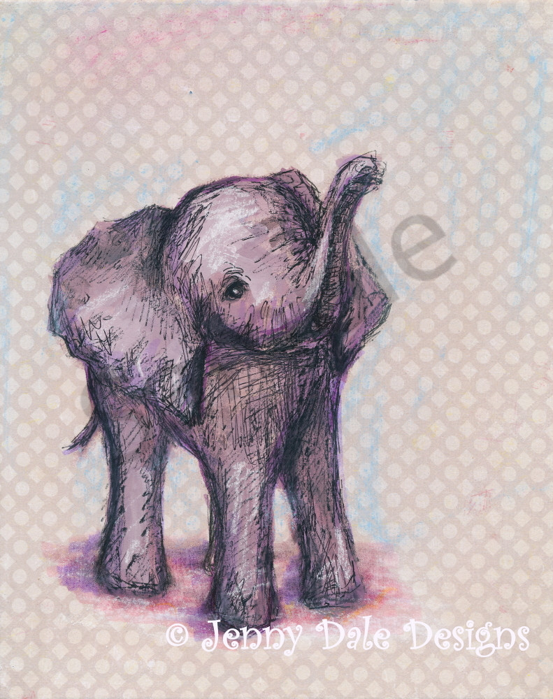 Sweet Baby Elephant: Raised Trunk, Pink And Purple Art | Jenny Dale Designs