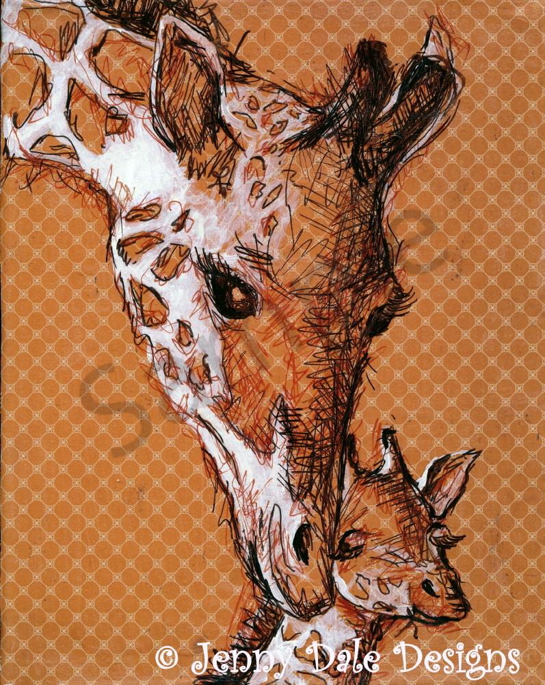 Giraffe Mom And Baby Art | Jenny Dale Designs