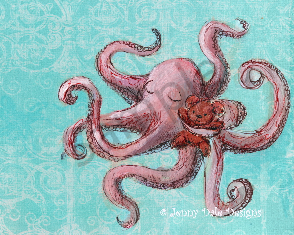 Octopus And Teddy Art | Jenny Dale Designs