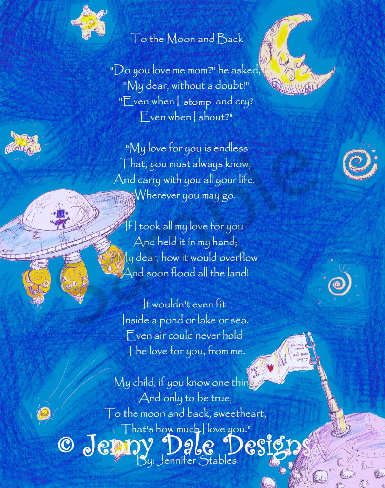 Outer Space Scene: I love you to the Moon and Back, Blue Background