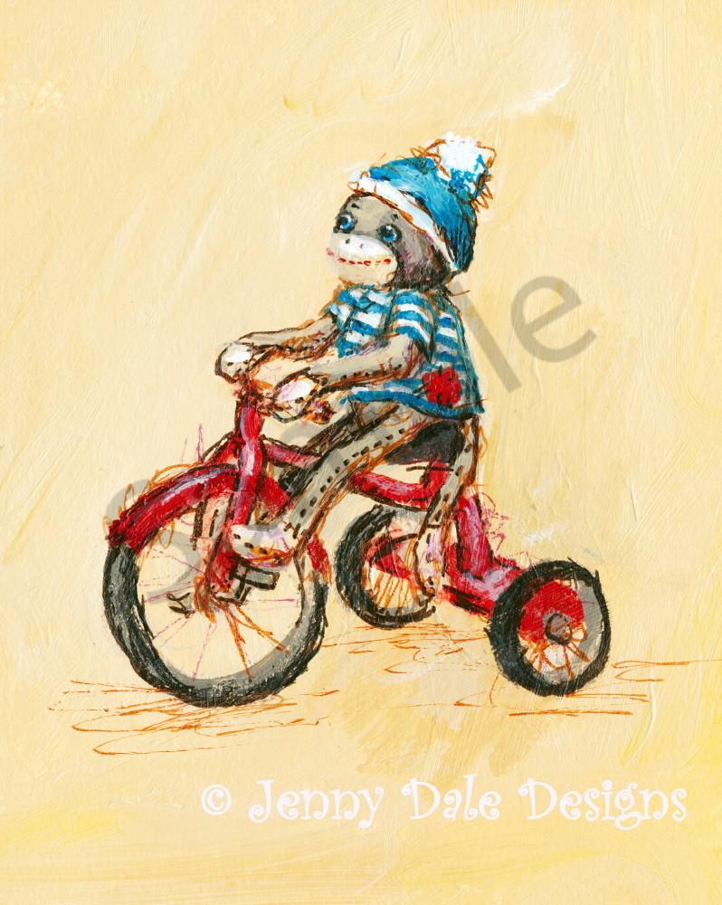 Sock Monkey's Tricycle Art | Jenny Dale Designs